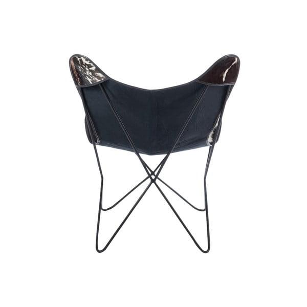Kožené křeslo Lounge, černobílé
