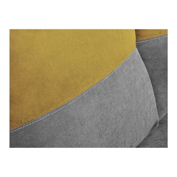 Šedo-žlutá třímístná rohová rozkládací pohovka s úložným prostorem Melart Frida