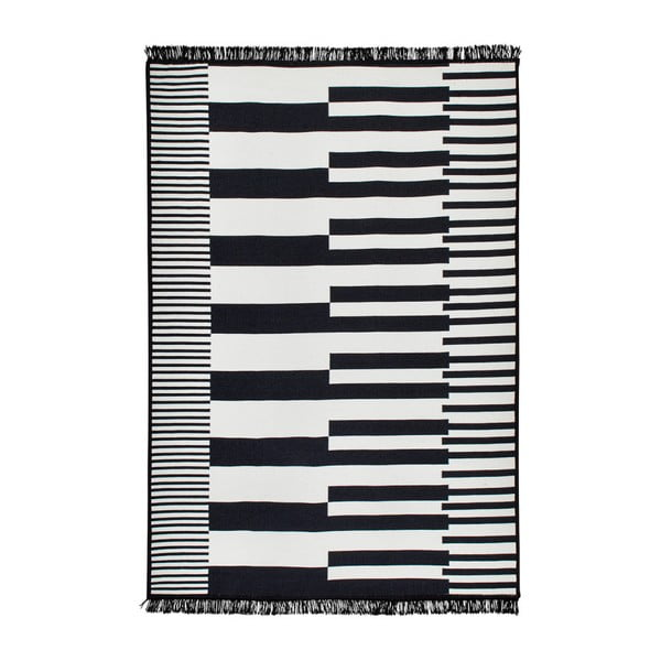 Czarno-biały dywan dwustronny Klotho, 80x150 cm