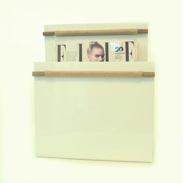 Stojan na noviny s dřevěnými prvky, bílý