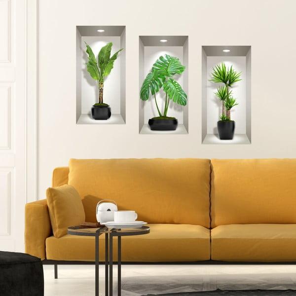 Set 3 autocolante 3D pentru perete Ambiance Green Plants