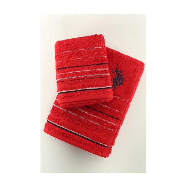 Sada 2 osušek U.S. Polo Assn. Tempe Red, 50x90 a 70x140 cm