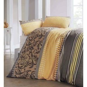Lenjerie de pat și cearșaf Miranda Honey, 200 x 220 cm