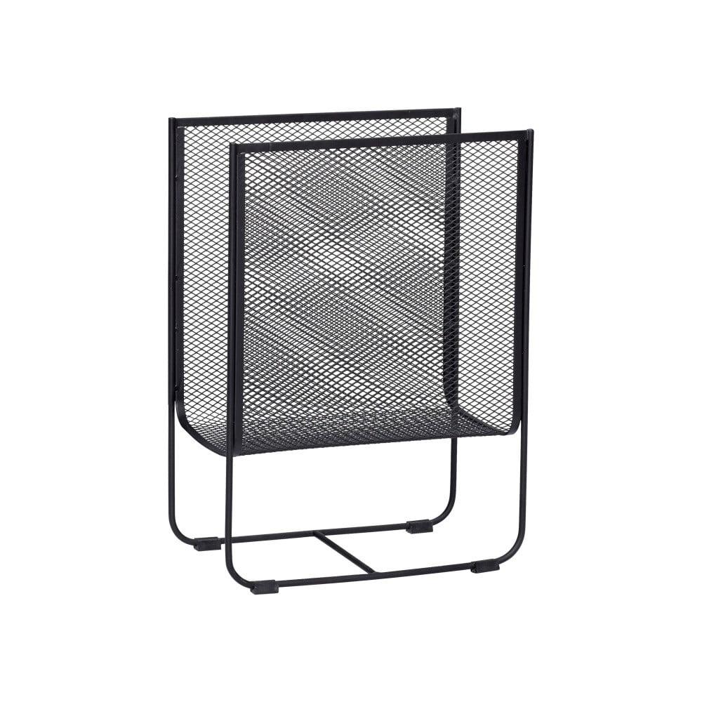 Černý kovový stojan na časopisy Hübsch Metal