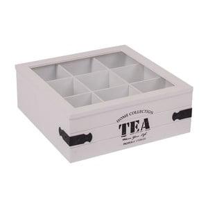 Bílý box s 9 přihrádkami na čaj Tea