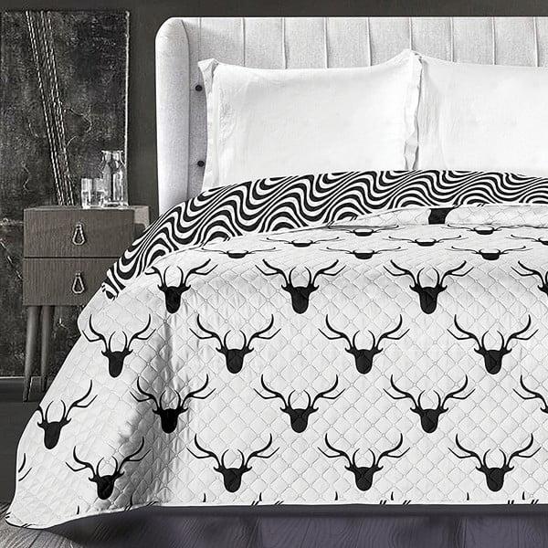 Černo-bílý oboustranný přehoz z mikrovlákna DecoKing Hypnosis Deerest, 210 x 170 cm