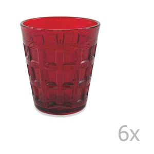 Sada 6 červených skleniček Villa d'Este Recta,280ml
