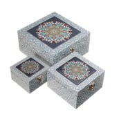Sada 3 úložných boxů Unimasa Mosaic