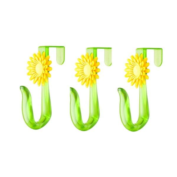 Set tří háčků na dveře Flower Power, žlutá
