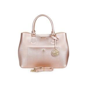 Světle růžová kabelka se zlatým efektem Beverly Hills Polo Club Mona