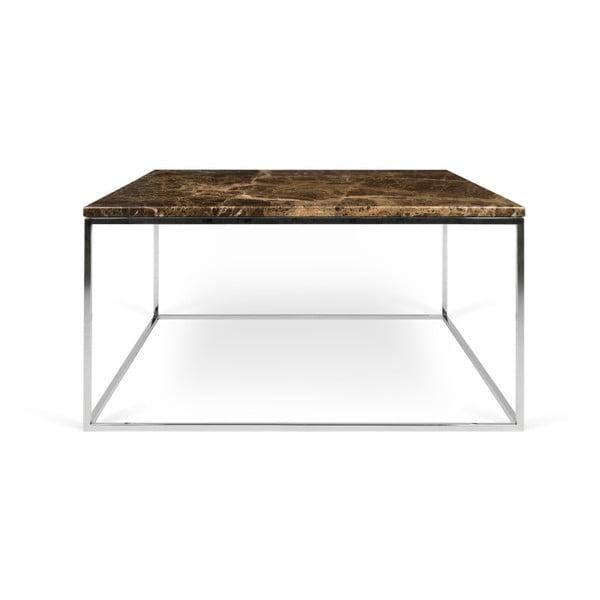 Hnědý mramorový konferenční stolek s chromovými nohami TemaHome Gleam, 75 x 75 cm