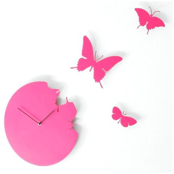 Designové hodiny Butterfly Magenta, 40 cm