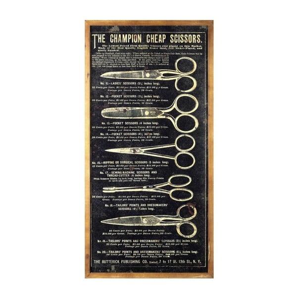 Dřevěná cedule Art Scissors, 80x40 cm
