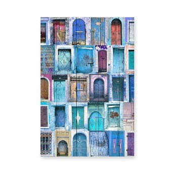 Tablou de perete din lemn de pin Really Nice Things Blue Doors, 40 x 60 cm