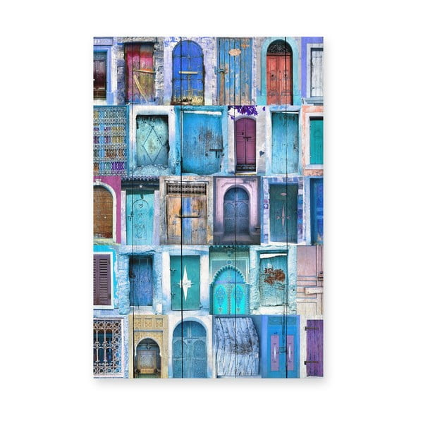Tablou de perete din lemn de pin Really Nice Things Blue Doors, 40 x 60 cm