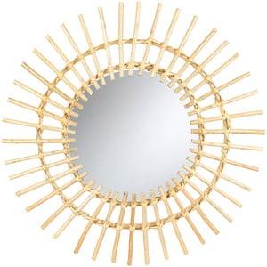 Nástěnné zrcadlo s ratanovým rámem Le Studio Run Rattan, ⌀ 55 cm