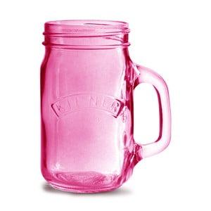 Borcan cu mâner Kilner 350 ml, roz