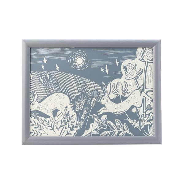 Niebieska taca David Mason Artisan, 43x32,5 cm