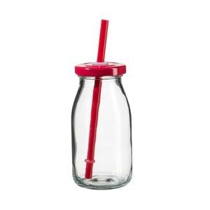 Sticlă pentru smoothie cu capac roșu și pai SUMMER FUN II, 200 ml