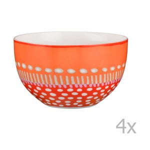 Sada 4 porcelánových misek Oilily 12 cm, oranžová