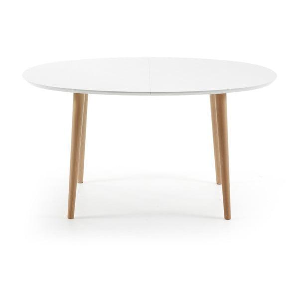 Bílý rozkládací jídelní stůl  La Forma Oakland, 140-220cm