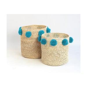 Sada 2 úložných košíků z palmových vláken s tyrkysovými dekoracemi Madre Selva Milo Basket