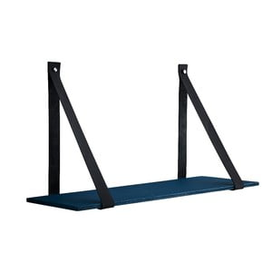 Modrá betonová polička s koženými popruhy Furnhome Aros, délka 90 cm