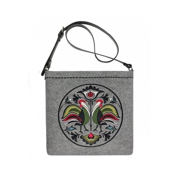 Plstěná vyšívaná taška New Folk Grey s nastavitelným popruhem