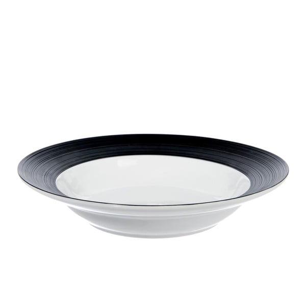 Hluboký talíř Stripes Dark Black, 24 cm