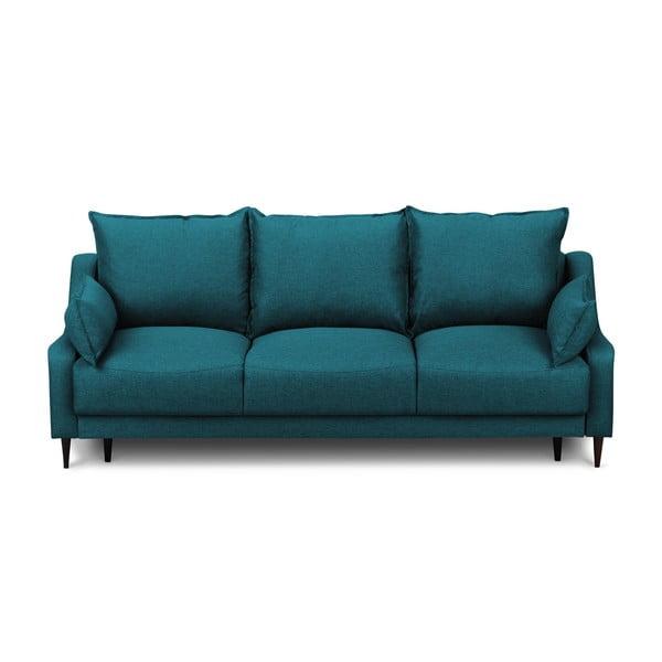Tyrkysová rozkládací třímístná pohovka súložným prostorem Mazzini Sofas Ancolie