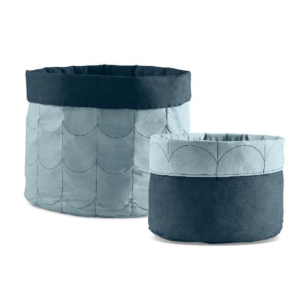 Sada 2 modrých úložných boxů Flexa Room
