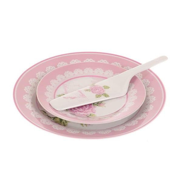 Sada 8 talířků a lžíce na dort Pink Roses