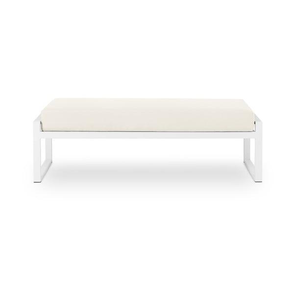 Nicea bézs kétszemélyes kültéri pad fehér kerettel - Calme Jardin