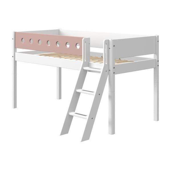 Ružovo-biela detská posteľ s rebríkom Flexa White, výška 120 cm