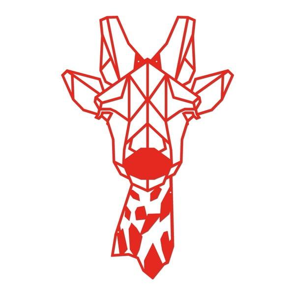 Červená kovová nástěnná dekorace Giraphe