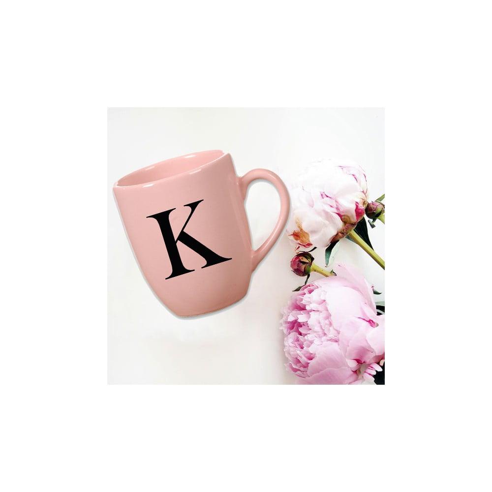 Růžový keramický hrneček Vivas Letter K, 330ml