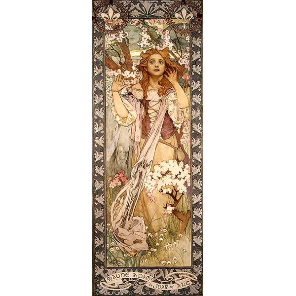 Reprodukce obrazu Alfons Mucha - Maud Adams as Joan of Arc, 30 x 80 cm