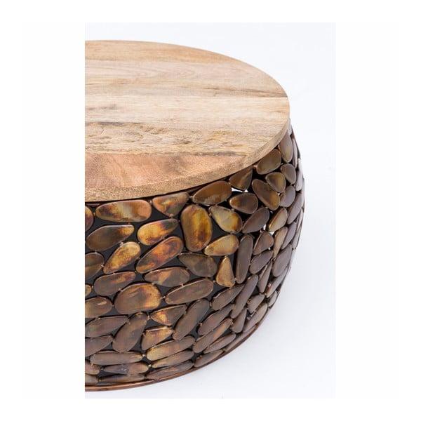 Konferenční stolek s dřevěnou deskou WOOX LIVING Caramel, ⌀66cm