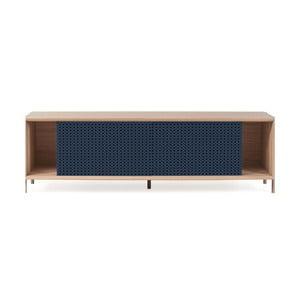 Tmavě modrý TV stolek z dubového dřeva HARTÔ Gabin,, délka 162 cm
