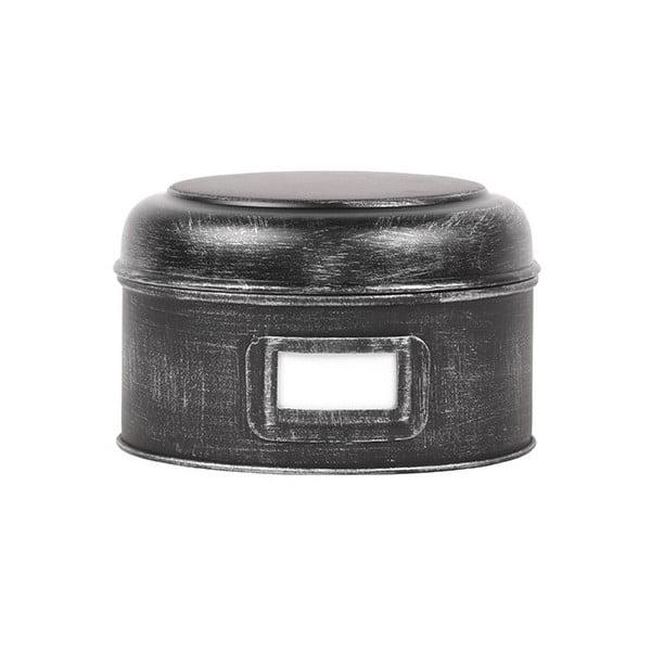 Černá kovová dóza LABEL51 Antigue, ⌀17,5cm