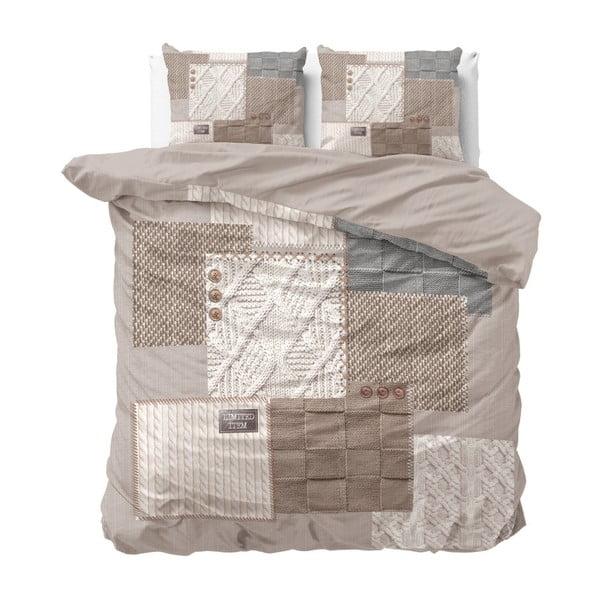 Bavlněné povlečení na dvoulůžko Sleeptime Knitted Home, 200 x 220 cm