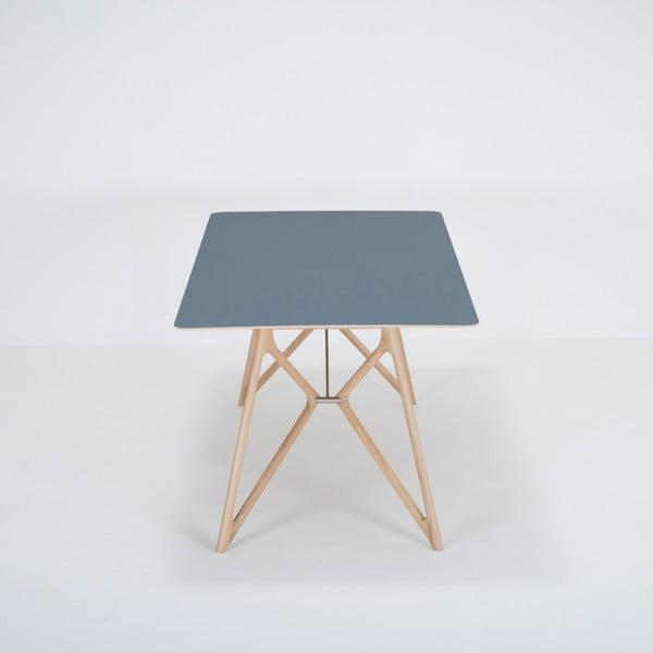 Jídelní stůl z masivního dubového dřeva s tmavě modrou deskou Gazzda Tink, 200x90cm