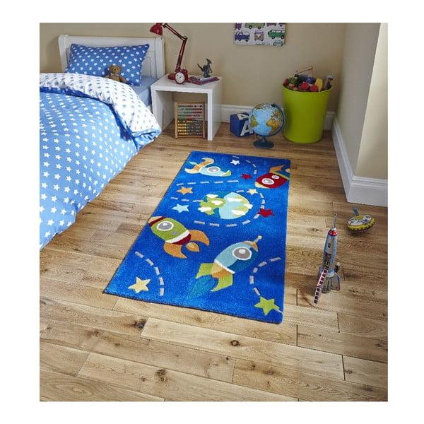 Modrý koberec Think Rugs Space Hong Kong, 70x140cm