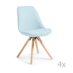 Set 4 scaune  cu picioare de lemn La Forma Lars, albastru deschis