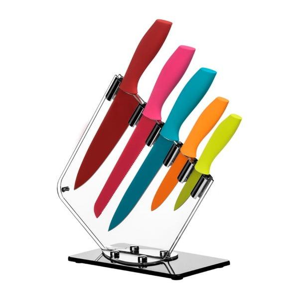Sada 5 farebných nožov so stojanom Premier Housewares Soft Grip
