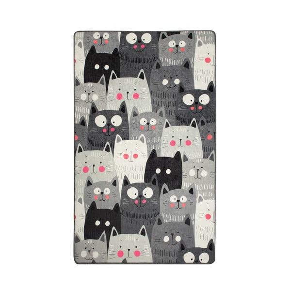 Šedý dětský protiskluzový koberec Chilai Cats,100x160cm