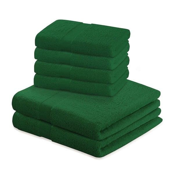 Zestaw 6 zielonych bawełnianych ręczników DecoKing Marina