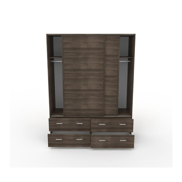 Dvoudveřová šatní skříň v dekoru ořechového dřeva se 4 zásuvkami Parisot Alix
