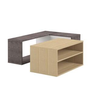 Dvojdílný konferenční stolek v dekoru dubového dřeva a betonu Symbiosis Angle