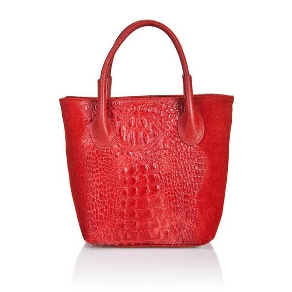 Červená kožená kabelka Massimo Castelli Laurita